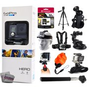 GoPro HERO Action Camera CHDHA-301 with 32GB Ultra Memory + 60? Pro Series Tripod + Bike Motorcycle Clamp + Head/Chest Mount + Suction Cup + Stabilizer + Selfie Stick + Wrist Glove + Floaty Strap