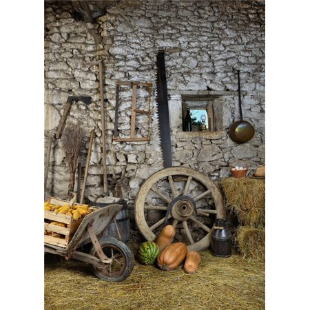 HelloDecor Polyster 5x7ft Old Stone House Background Wooden Cars Pumpkin Photography Backdrop for Halloween or Children Photographic Props](Old Car Heaven Halloween)