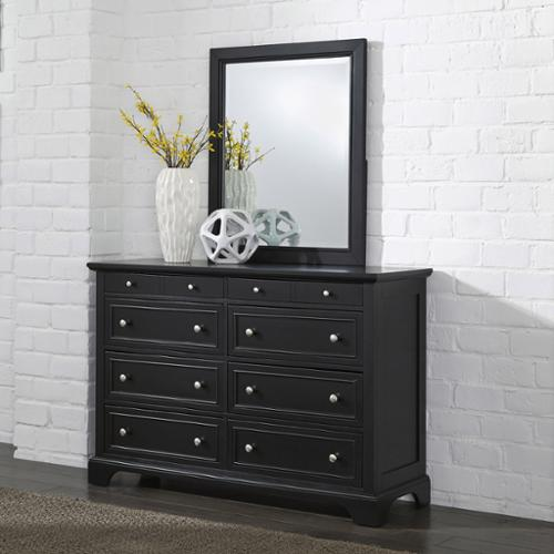 Home Styles Bedford Black Wood Dresser and Optional Matching Mirror Desser with Mirror