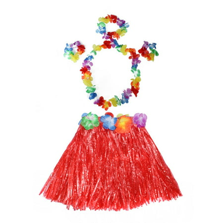 Meigar Tropical Hawaiian Hula Dance Grass Skirt Lei Garland Headband Wristband Fancy Dress Costume,Grass Dance Skirt & Bra & Flower Bracelets & Headband & Necklace