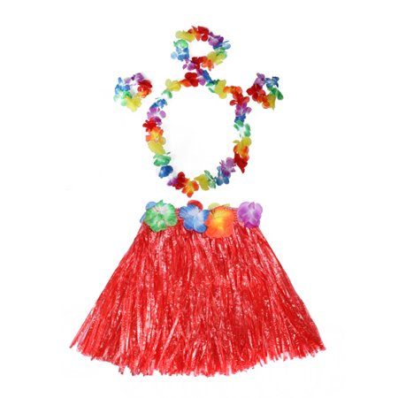 Meigar Tropical Hawaiian Hula Dance Grass Skirt Lei Garland Headband Wristband Fancy Dress Costume,Grass Dance Skirt & Bra & Flower Bracelets & Headband & - Hawaiian Lei Company