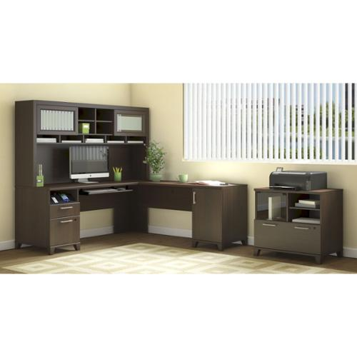 Bush Furniture Achieve L Shaped Desk with Hutch and Printer Stand File Cabinet