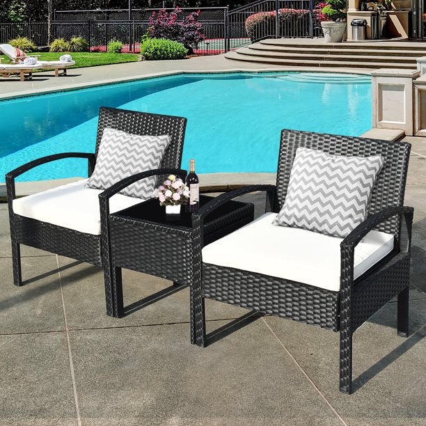 3 Pieces Patio Set Outdoor Wicker Rattan Furniture w/ Cushions
