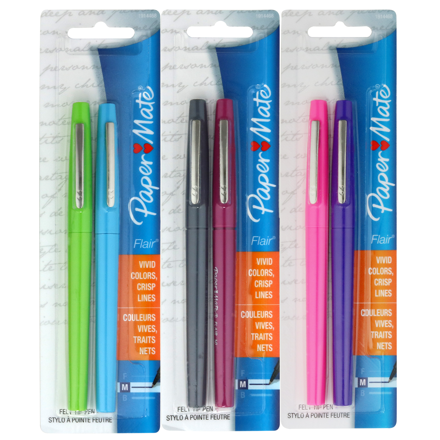 Paper Mate Flair Felt Tip Pens, Medium Point, Colors May Vary, Pack of 2
