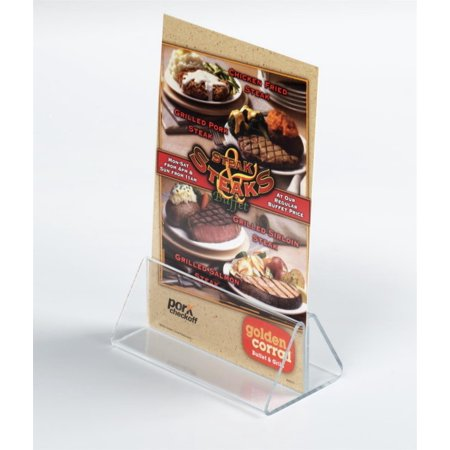 "Case of 50, Acrylic Holder 4""w x 1-1/2""h x 2""d Clear Plexiglas Table Tent Accommodates 4""w Images – Lucite Countertop Sign Display Holds Thick Paper and Stock Card (CLIP415C) Table Tents Holders"