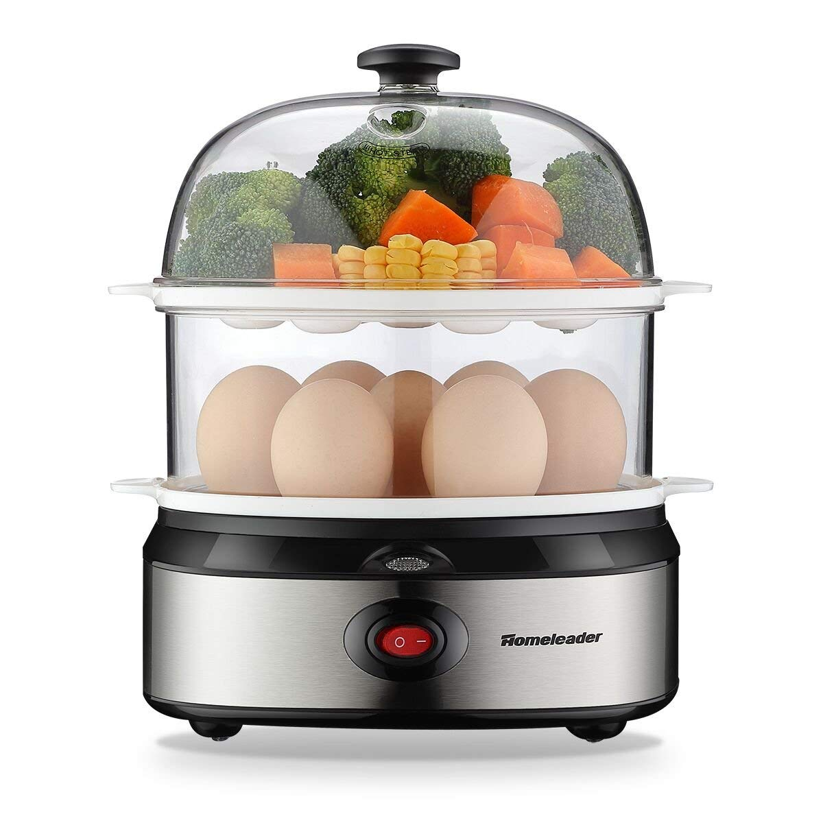 Homeleader Egg Cooker, 360W Egg Maker, Electric Egg Boiler with Steamer Bowl and Measuring Cup, 14 Eggs Capacity, Automatic Shut Off