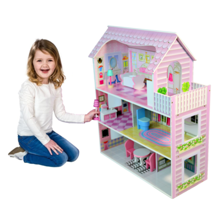 3-Level Wooden Dollhouse Open-Sided Cottage Uptown Kid House Play with 8 Pieces of Furniture Dream Doll House for Little Girls 3 Year