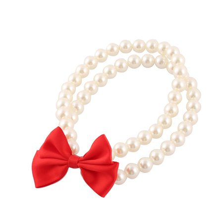 Party Dog Plastic Pearl Bowknot Decor Dual Rows Beads Stretchy Pet Necklace