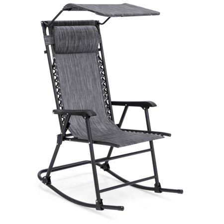 Best Choice Products Outdoor Folding Zero Gravity Rocking Chair w/ Attachable Sunshade Canopy, Headrest - Gray