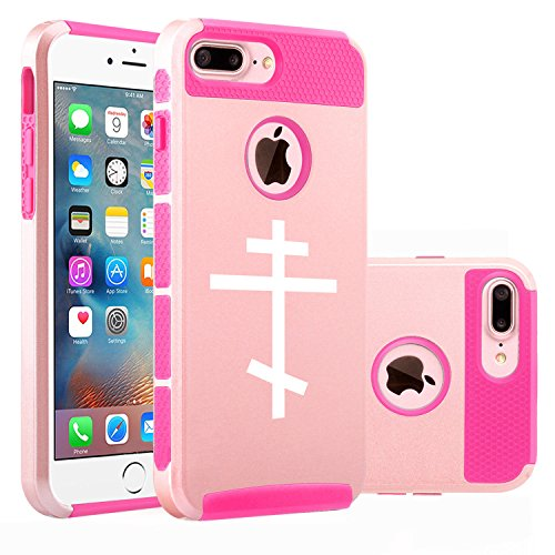 For Apple iPhone (7 Plus) Shockproof Impact Hard Soft Case Cover Orthodox Cross (Rose Gold-Hot Pink)