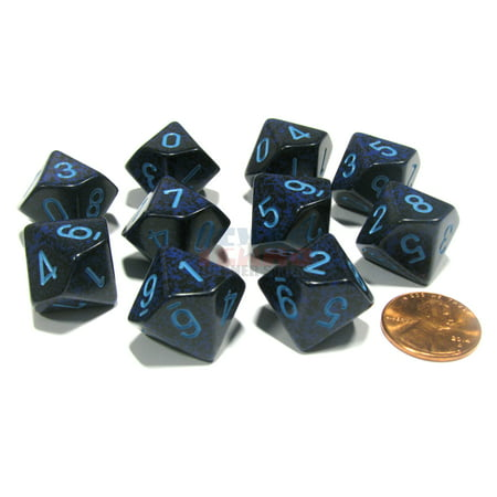 Chessex Set of 10 D10 Dice - Speckled Cobalt #25107
