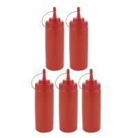 5Pcs 360ml Kitchen Plastic Squeeze Bottles Condiment Ketchup Mustard Oil Salt