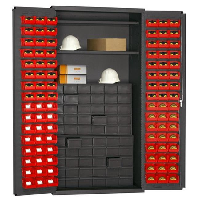 14 Gauge Flush Door Style Lockable Cabinet with 96 Red Hook on Bins & 2 Adjustable Shelves & 60 Drawer, Gray - 36 in.