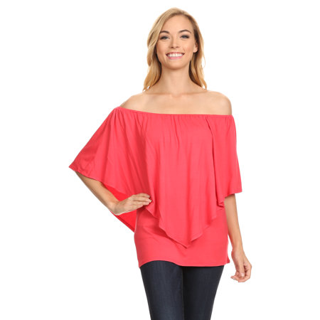 Womens off the Shoulder Convertible Tops Ruffle Layered Top-Made in USA