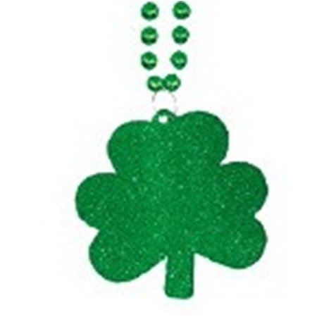 Glitter Shamrocks (Glitter Large Shamrock Clover Green Mardi Gras Bead Necklace St)