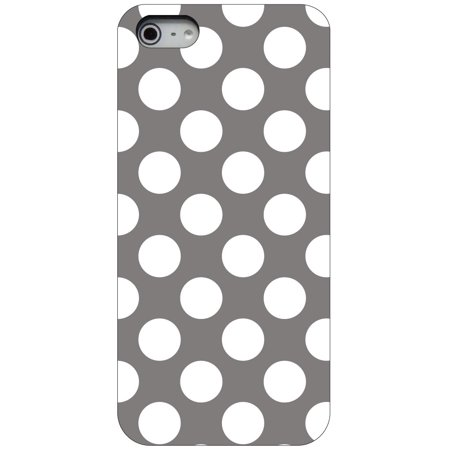 CUSTOM Black Hard Plastic Snap-On Case for Apple iPhone 5 / 5S / SE - White & Grey Polka Dots (Iphone 5 Polka Dot Case)