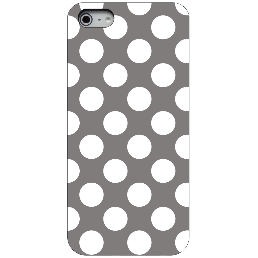 CUSTOM Black Hard Plastic Snap-On Case for Apple iPhone 5 / 5S / SE - White & Grey Polka Dots
