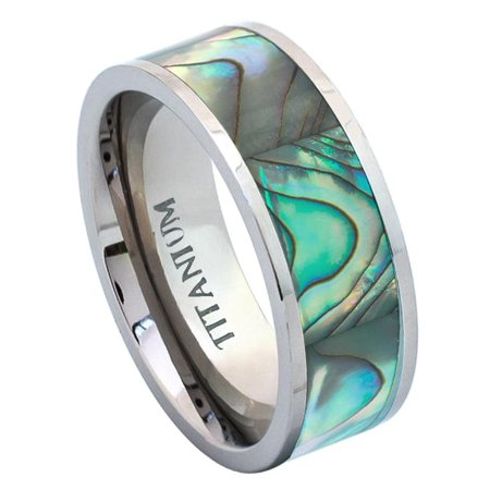 New Shell Inlay (8mm - For Men or Ladies Pipe Cut with Rainbow Rippled Abalone Inlay Titanium Wedding Band Ring)