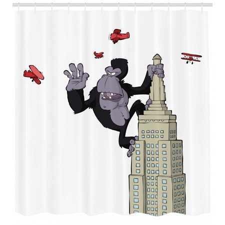Shower Monkey (Animal Shower Curtain, Cartoon Theme Big Monkey on Skyscraper and Planes on White Background Print, Fabric Bathroom Set with Hooks, Beige Black and Red, by)