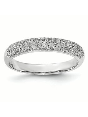 14K White Gold Pave Diamond Band Ring, Size 7 (0.26 CTW)