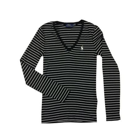 Ralph Lauren Polo Womens Long Sleeve V-Neck Pony Logo Shirt Blue/Black/White New (Black/White,S) (Polo Ralph Lauren T Shirts Women)