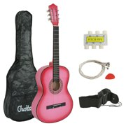 "Zeny 38"" Pink Acoustic Guitar Set for Kids Beginners Music Lovers Starter with Gig Bag, Strap, Extra Set Strings, Pitch Pipe and Pick"