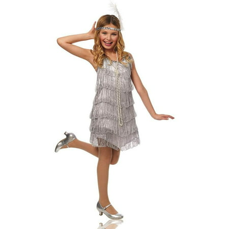 Girls Silver Flapper Costume (Flapper Girl Costumes Adults)