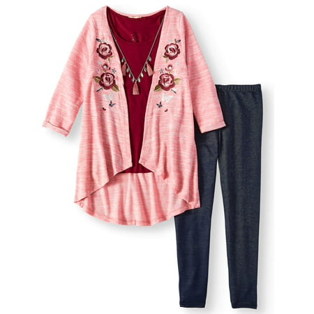 ONE STEP UP Embroidered Long Sweater Knit Cardigan, Tee & Knit Denim Legging, 3-Piece Outfit Set (Little Girls & Big Girls)