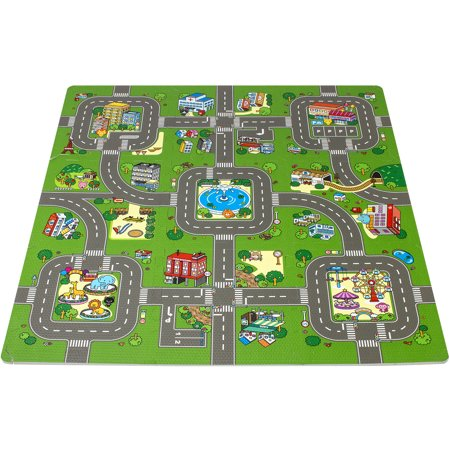 """Sorbus Puzzle Mat Traffic Interlocking Floor Kids Play Carpet Tiles with Borders - Baby Foam Puzzle, Extra Thick Non-Toxic Crawling Mat for Tummy Time, Great for Playroom, 3/8"""" Thick Foam, 9 Tiles"""