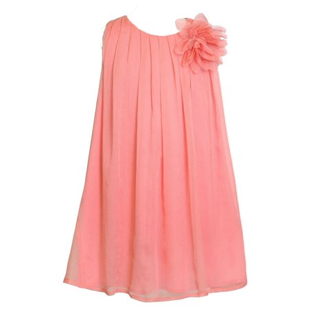 Pretty School Girls (Little Girls Coral Pretty Chiffon Flower Girl Dress)