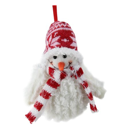 Snowman Ornament (Northlight Smiling Fuzzy Snowman with Red Nordic Hat and Scarf Christmas Figurine)