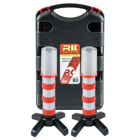 RK Safety Reusable LED Emergency Roadside 2 Beacon Flares Kits - Red