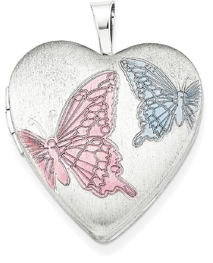 ICE CARATS ICE CARATS 925 Sterling Silver 20mm Enameled Butterflies Heart Photo Pendant Charm Locket Chain Necklace That... by IceCarats Designer Jewelry Gift USA