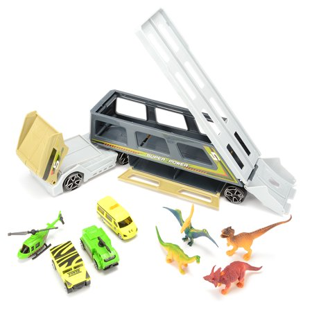 Children DIY Shapes Transform Car Carrier with Dinosaurs Car Helicopter Playset Vehicle Playset - image 1 of 6