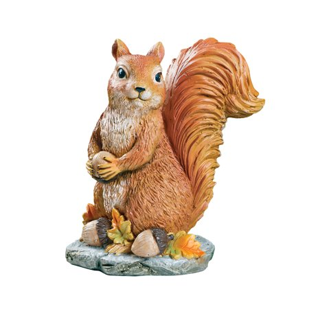 Collections Etc. Sylvester Squirrel Garden Statue with Acorns, Fall Outdoor or Indoor -