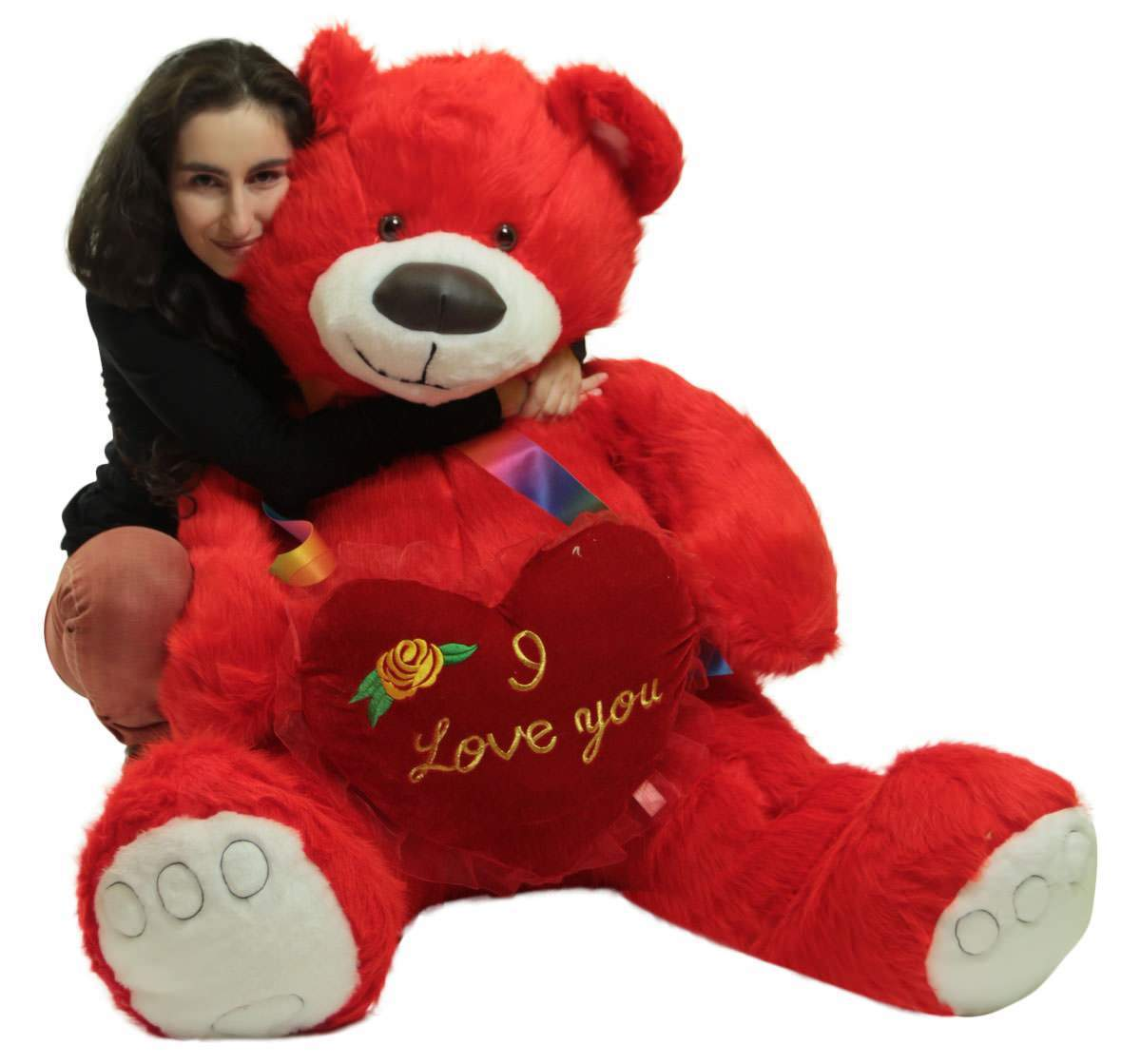 Red Teddy Bear 5 Feet, Life Size 5 Foot Red Teddy Bear With I Love You Heart Pillow Big Plush Soft Stuffed Animal Made In Usa Walmart Com Walmart Com