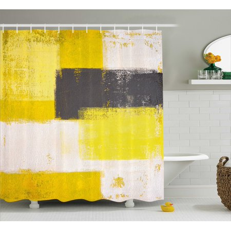 Grey And Yellow Shower Curtain Abstract Grunge Style Brushstrokes Painting Fabric Bathroom Set With Hooks White Charcoal Pale