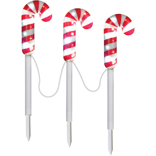 5.5' Pathway Stakes Sparkle Candy Cane Christmas Lights, Set of 3