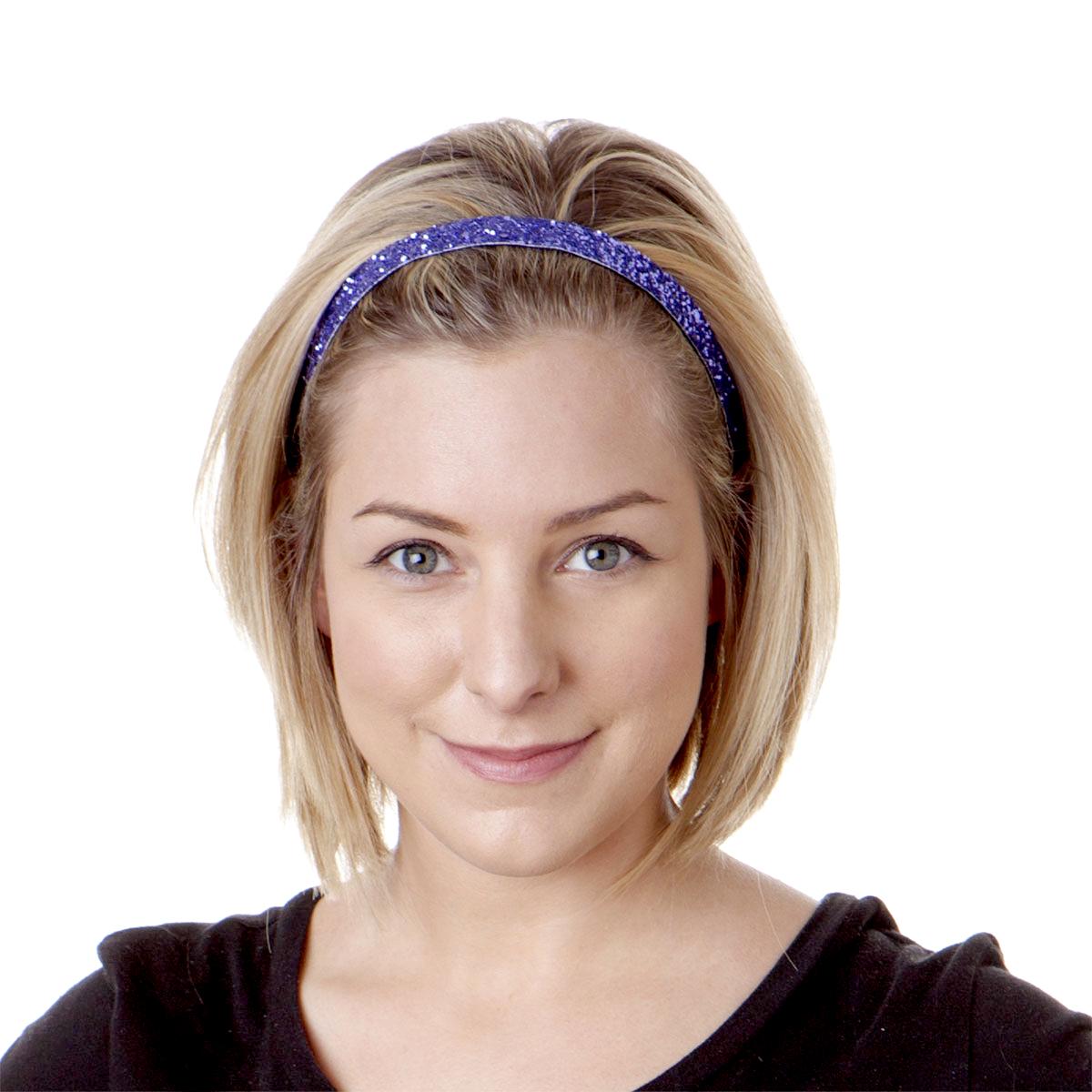 Hipsy Women's Adjustable NO SLIP Skinny Bling Glitter Headband (Purple)