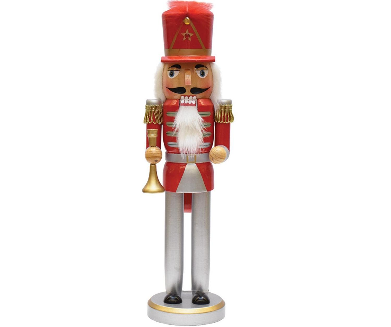 Christmas Nutcracker.14 Red Silver And Gold Wooden Christmas Nutcracker With Horn
