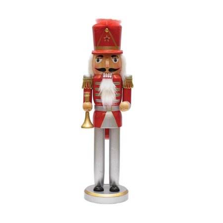 """14"""" Red, Silver and Gold Wooden Christmas Nutcracker with Horn - image 1 ..."""