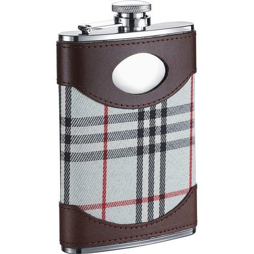 Visol  Tobias Leather & White Plaid Liquor Flask - 8 ounces