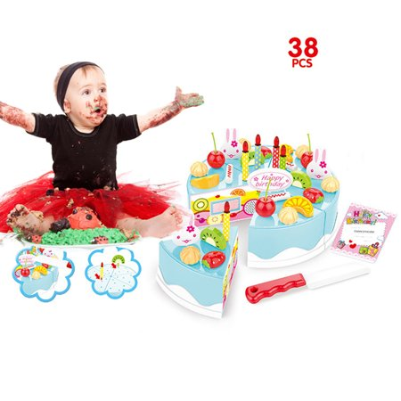 Mosunx 38 Piece Pretend Role Play Kitchen Toy Happy Birthday Cake Food Cutting Set Kids
