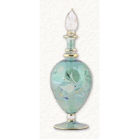 - Green Floral Etched Egg Egyptian Blown Pyrex Glass Perfume Bottle Made in Egypt