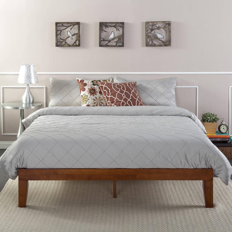 Zinus Wen 12 Solid Wood Platform Bed Cherry Finish Twin Walmart Com Walmart Com