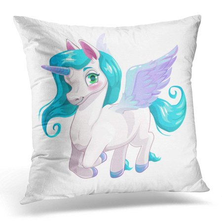 ARHOME Pony Cute White Cartoon Beautiful Little Pegasus with Blue Hair Horse Pillow Case Pillow Cover 18x18 inch