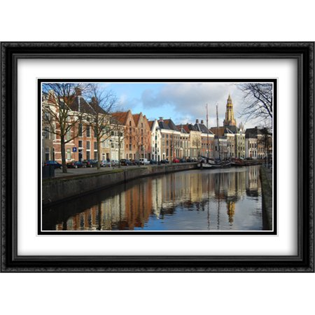 Netherlands Warehouses 2x Matted 38x28 Large Black Ornate Framed Art Print by The Cityscape Art Print (Frame Warehouse Coupon)