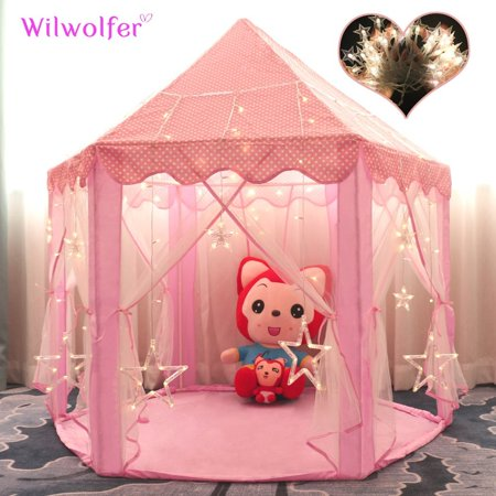 timeless design 1880c f0bfa Princess Tent Large Castle Playhouse for Children Indoor and Outdoor Games  Hexagon Kids Play Tent with 17 Feet 50 Star Lights (Pink)