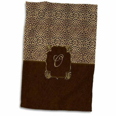 3dRose Elegant Animal Print in Warm Brown and Gold Monogram Letter N - Towel, 15 by 22-inch Painted Gold Monogram