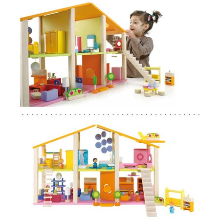 Large Wooden Miniature Dollhouse House Toy Set DIY FULL Furniture Building Blocks For Parent-child Toy Kids New Year Birthday